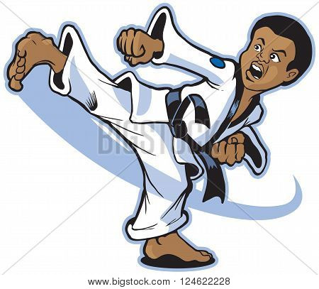 Vector clip art cartoon illustration of an African American boy martial artist executing a spinning back kick.
