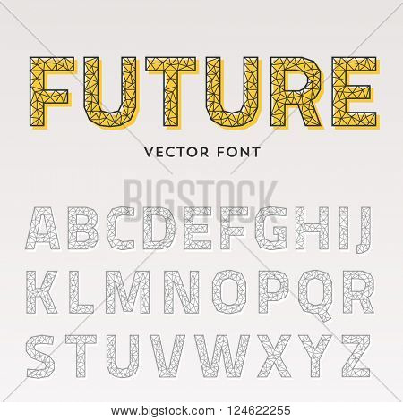 Vector trendy triangular font. Futuristic polygonal typeface made of lines. Latin alphabet from A to Z.