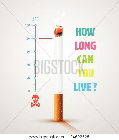 World No Tobacco Day Banner With Cigarette and Message. Stop smoking idea concept, Life ends loading. poster