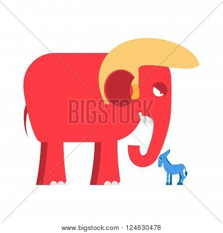 Big Red Elephant and  Little Blue Donkey  Symbols Of Political Parties In America. Democrats Against