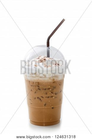 Iced coffee latte in takeaway cup isolated on white background