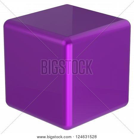 Cube purple box geometric shape block basic solid dice square brick figure simple minimalistic glossy element single shiny blank object. 3d render