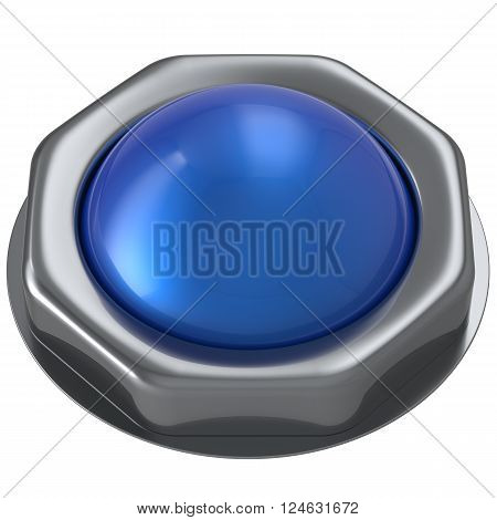 Push button blue start turn on off action activate ignition power switch design element metallic cyan shiny blank. 3d render