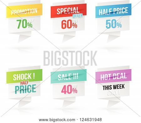 Paper banner modern style set. Vector illustration. Can use for promotion advertising.