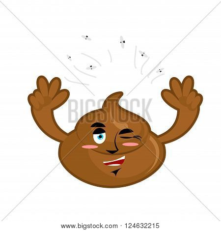 Cheerful Turd. Joyful Shit. Feces And Flies. Winking Shit Hands Up