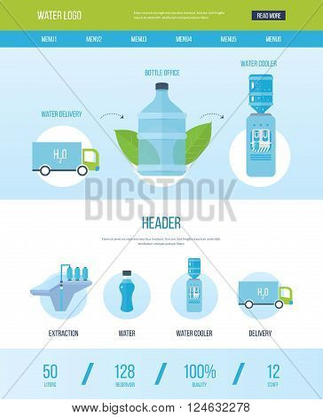 One page web design template with icons of water bottle office. Bottle office, plastic and liquid. Water cooler, extraction and delivery. Vector illustration