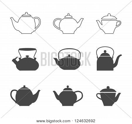 Tea pots set. Vector line tea pots icons and tea pots silhouette symbols