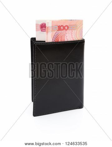 wallet with RMB 100 paper currency on white with clipping path