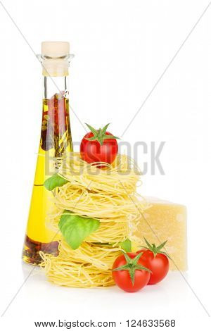 Pasta, tomatoes, basil, olive oil and parmesan cheese. Isolated on white background