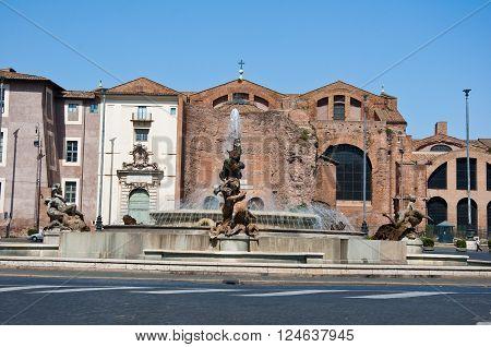 Piazza della Repubblica and the fountain of the Naiads. Rome Italy. poster