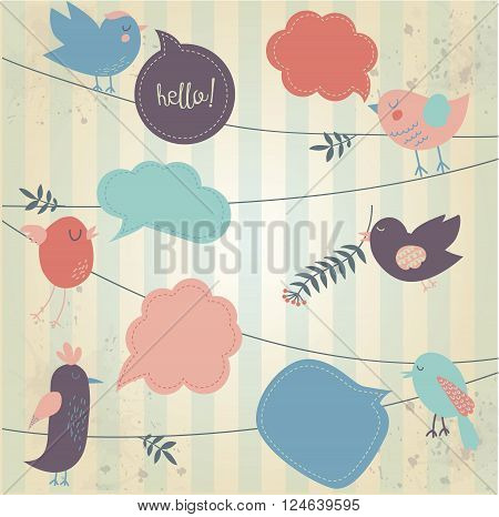 Retro styled background with tweeting cute birds