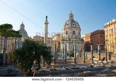 Panoramic view of the forum with the Trajan's Column. Rome Italy. poster