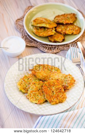 Courgette Pancakes Served With Yogurt