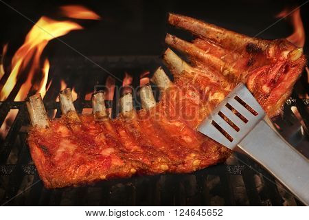 Bbq Roasted Baby Back Pork Ribs On Hot Flaming Grill