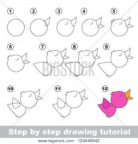 Drawing tutorial for children. How to draw the funny Nightingale