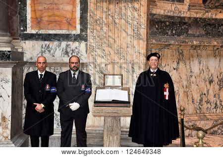 ROME-NOVEMBER 6: Members the House of Savoy in Roman Pantheon on November 6 2010 in Rome Italy. The House of Savoy is royal families being founded in year 1003 in the historical Savoy region.