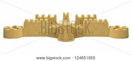 Big Sand Castle Isolated On White Background
