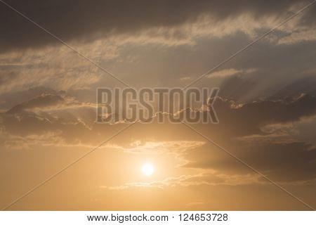 Sunset Sky Background, Light Rays Of Sunbeam In Evening