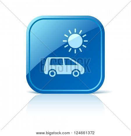 Solar energy car icon on blue square web button