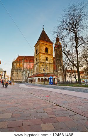 KOSICE, SLOVAKIA - MARCH 19, 2016: Urban's Tower and St. Elisabeth cathedral in the main square of Kosice city in eastern Slovakia on March 19, 2016.