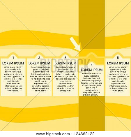 General five-infographics with a single active element in fourth position. Contemporary art vector graphics. Yellow shades with black draft position of nonsensical text that needs to be replaced.