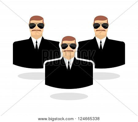 Security man Icon. guard. Bodyguards. Man in black suit