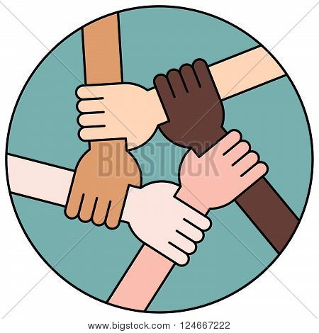 Five Hands Holding Each Other as an Interracial Solidarity. Blue