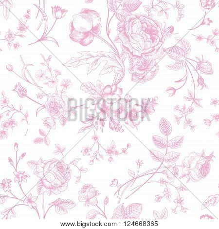 Seamless vector vintage pattern with Victorian bouquet of pink flowers on a white background. Garden roses tulips delphinium petunia.