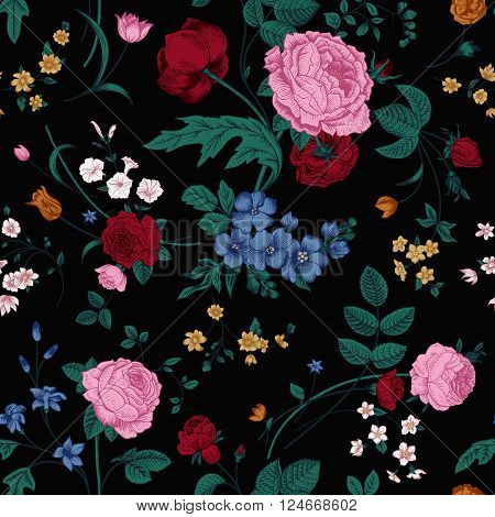 Seamless vector vintage pattern with Victorian bouquet of colorful flowers on a black background. Pink roses tulips blue delphinium with emerald leaves.