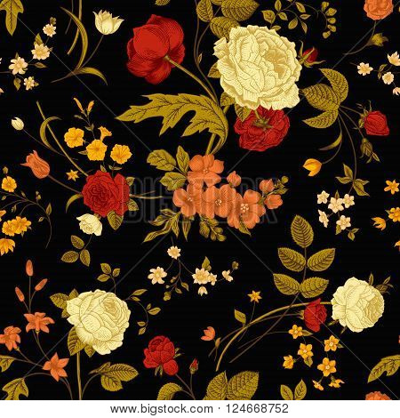 Seamless vector vintage pattern with Victorian bouquet of vivid flowers on a black background. Coral yellow roses tulips delphinium petunia with green leaves. poster