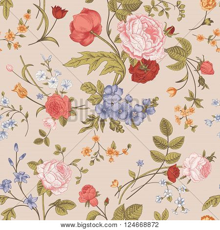 Seamless floral vector classic pattern with Victorian garden flowers on a beige background. Coral roses orange tulips blue delphinium.