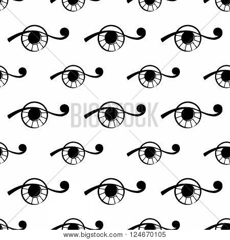 seamless pattern with abstract  eye on white background. vector