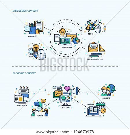 Web Design, Blogging icons concepts compositions set. Vector modern line flat design infographics and webdesign elements. Planning, web design, creative process, blogging, articles,  comments, readers poster
