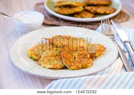 fried fritters of shredded courgette food closeup