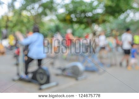 Blurred image of outdoor gym in a public park