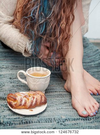 Cozy Photo Of Woman Feet With Tea And Cake