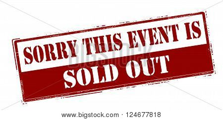 Rubber stamp with text sorry this event is sold out inside vector illustration