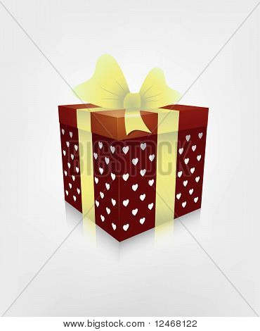 Vector red gift box with white hearts