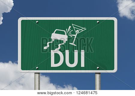 Driving Under the Influence Road Sign A green Road Sign with a car crashing into a martini glass with sky background