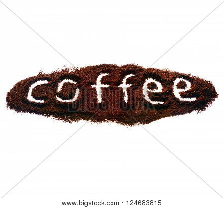 Nice sign coffee made of coffee on white isolated background