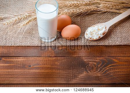 Natural homemade products: milk, cheese, sour cream and eggs on old wooden background with ears of wheat