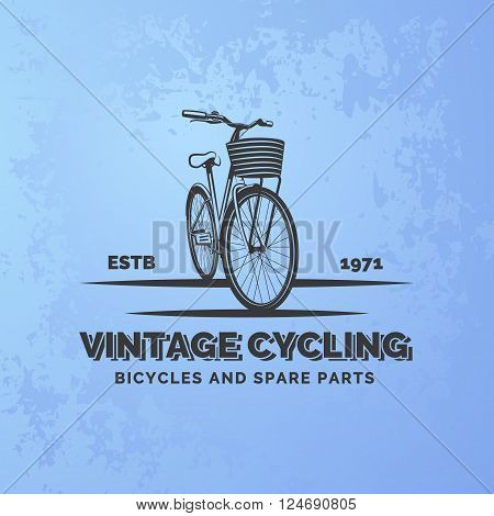 Vintage road bicycle emblem on blue grunge background. Bicycle repair and service. Classic bicycle logo. Vector.