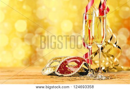 Two glasses of champagne on  background