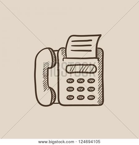 Fax machine sketch icon.