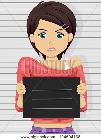 Illustration of an Angry Teenage Girl Posing for Her Mug Shot
