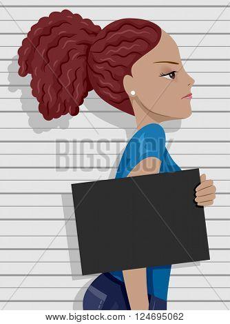 Side View Illustration of an Angry Teenage Girl Posing for a Mug Shot