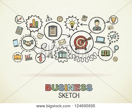 Business hand draw integrated icons set. Colorful vector sketch infographic illustration. Connected doodle pictograms on paper, strategy, mission, service, analytics, marketing, interactive concepts