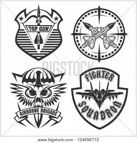 Missile Troops - military badges and patches. Vector set.