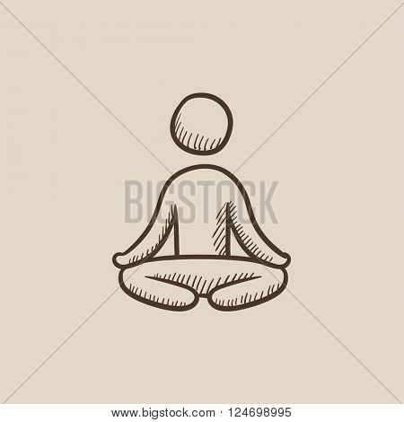 Man meditating in lotus pose sketch icon.