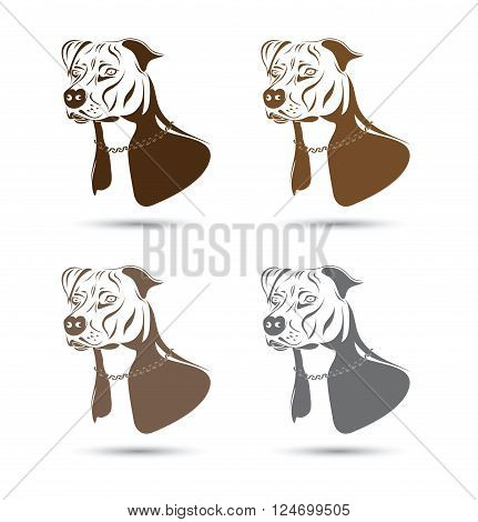 a staffordshire terrier dog silhouette set group